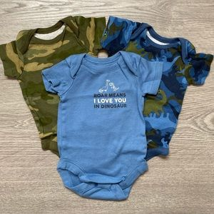 The Children's Place Dino Onesies 3 Pack